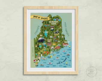 Illustrated Map of Maine   Map Art, State of Maine Art, Maine Gift
