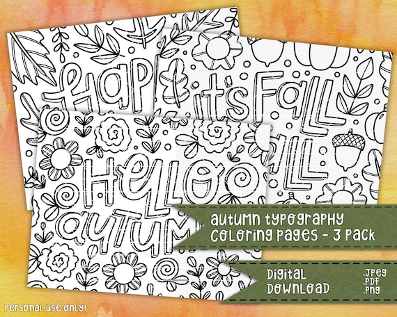 Autumn Typography Coloring Pages 3 Pack  Fall Typography