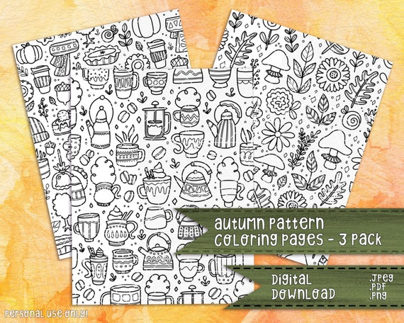 Autumn Patterns Coloring Pages 3 Pack  Fall Patterns Seasonal