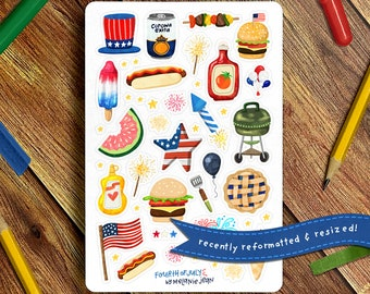 Barbecue Sticker Sheet   Bullet Journal Sticker Sheet, Cute Sticker Sheet, Fourth of July Stickers