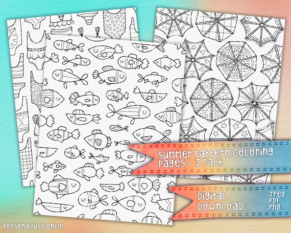 Summer Pattern Coloring Pages 3 Pack  Seasonal Coloring Pages