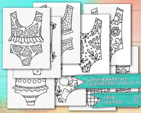 Summer Bathing Suits & Bikinis Coloring Pages 9 Pack