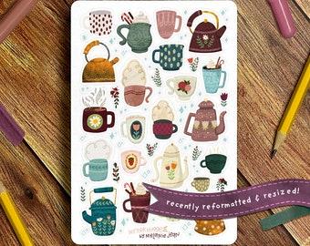 Winter Mugs Sticker Sheet, Hygge Sticker Sheet - Great for Bullet Journaling, Planners, Kids, Fun!