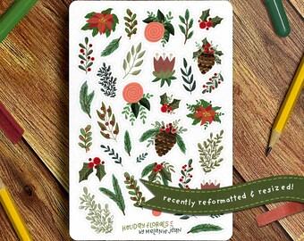 Christmas Florals Sticker Sheet, Christmas Sticker Sheet - Great for Bullet Journaling, Planners, Kids, Fun!