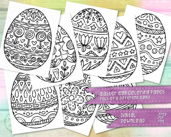 Easter Egg Coloring Pages 8 Pack  April Spring Coloring