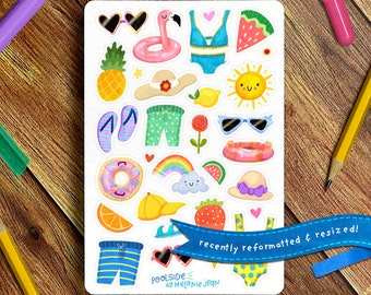 Poolside Sticker Sheet   Bullet Journal Sticker Sheet, Cute Sticker Sheet, Summer Stickers