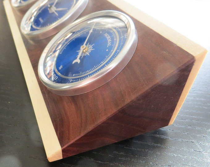 Featured listing image: Weather Station, Thermometer, Clock, Hygrometer, Walnut and Aspen, Vibrant Blue Movements