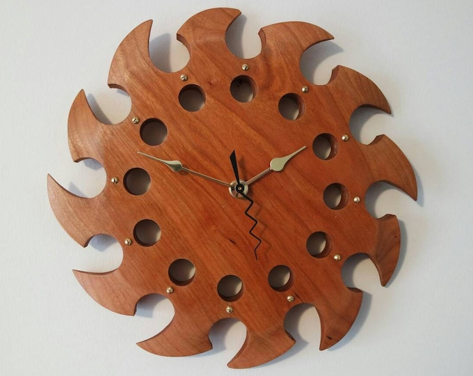 """Featured listing image: Wall Clock Natural Cherry 10"""" Functional Art Eclectic Gift"""