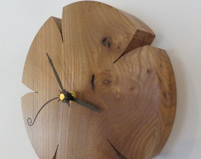 Featured listing image: Wall Clock Figured Burled Oak