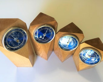 Weather Station, Barometer, Hygrometer, Thermometer, Clock, Maple Wood
