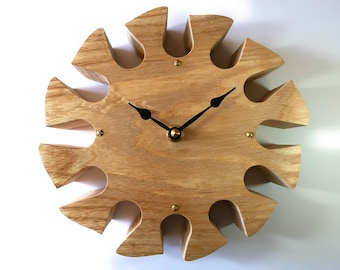 """Wall Clock Carved Ash Wood 8"""""""