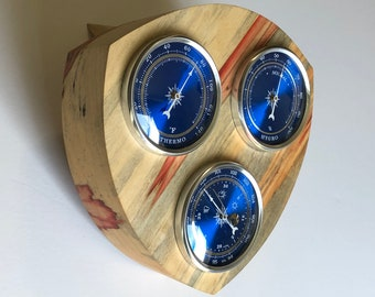 Desktop Weather Station in Flamed Box Elder Wood with Barometer, Thermometer and Hygrometer