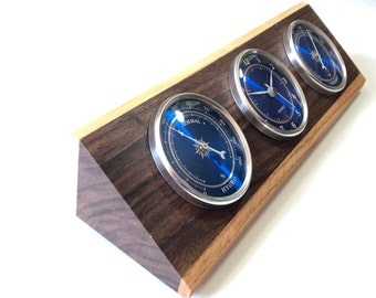 Weather Station - Thermometer - Clock - Hygrometer - Walnut, Oak and Aspen - Blue