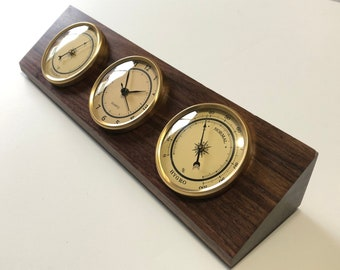 Weather Station - Thermometer - Clock - Hygrometer - Solid Walnut - Cream