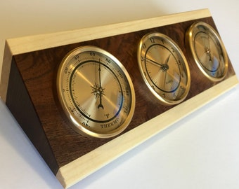 Weather Station Nautical Shore Station Thermometer Clock Hygrometer - Solid Walnut Wood with Aspen