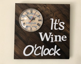 Wine O'Clock Solid Rustic Wood