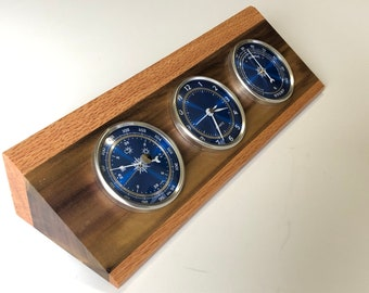 Weather Station - Barometer - Clock - Hygrometer - Tulip Poplar and Oak - Blue