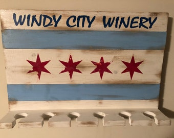 Chicago Flag Windy City Winery Wine Glass Rack