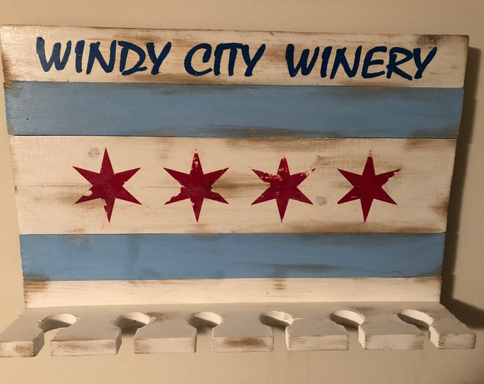 Featured listing image: Chicago Flag Windy City Winery Wine Glass Rack