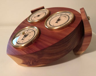 Desktop Red Cedar Weather Station with Barometer, Thermometer and Hygrometer