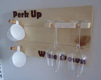 Coffee Sign Mug Rack - Perk up - AM PM - Wine Glass Rack - Coffee Cup Hook
