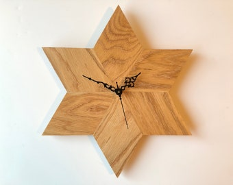 Solid Oak Star Wall Clock