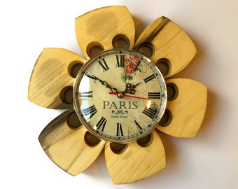 "Paris Wall Clock Magnolia Wood 10"" Flower Petal"