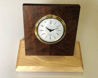 Figured black walnut and aspen desk clock with quartz movement