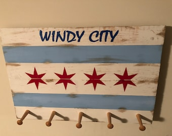 Hat and Coat Rack Chicago Flag Windy City