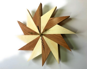 Pinwheel Sunrise Wall Clock Oak and Aspen