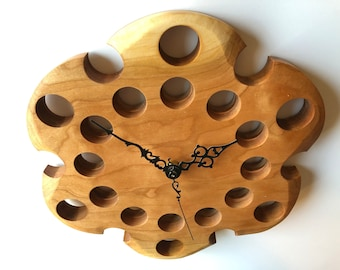 """Wall Clock Natural Cherry Wood 10"""" Functional Art Eclectic Gift"""