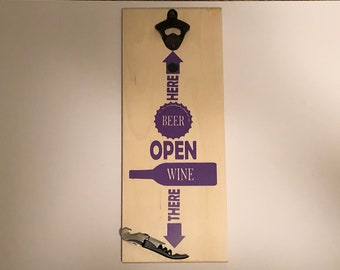 Bottle Opener - Wine Opener Corkscrew - Beer Here - Magnetic