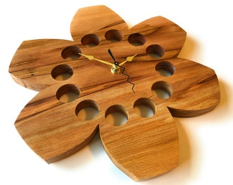 """Wall Clock Natural Sycamore Wood 12"""" Functional Art Eclectic Gift"""