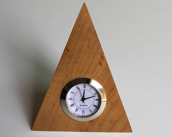 Hard Maple desk clock with white and chrome movement