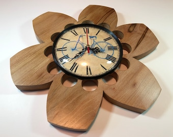 "Wall Clock Natural Sycamore Wood 12"" Vintage Bicycle"