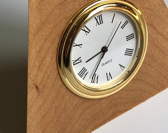 Hard Maple desk clock with white and gold movement