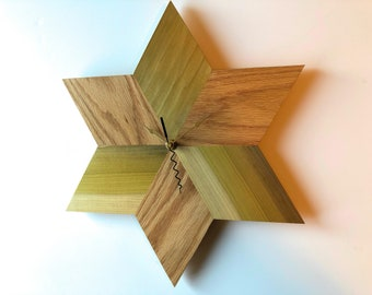 Solid Wood Star Wall Clock Oak and Poplar