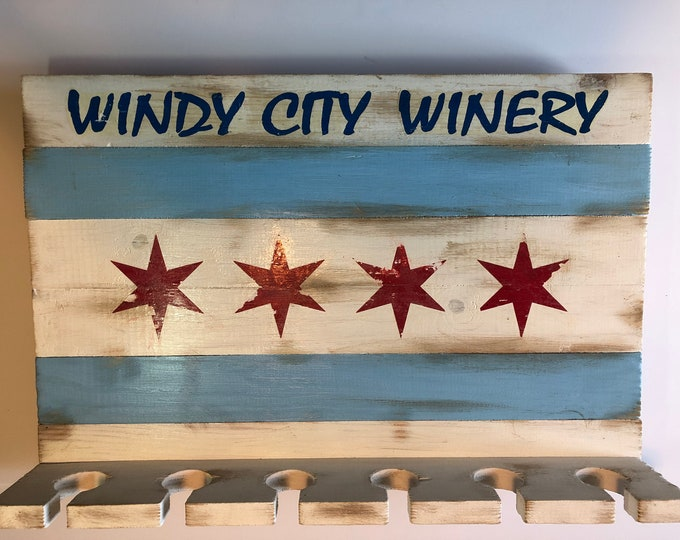 Featured listing image: Chicago Flag  Wine Glass Rack Windy City Winery