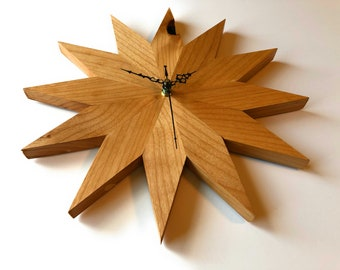 Solid Knotty Oak Sunrise Wall Clock