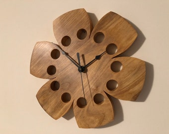 """Wall Clock Natural Magnolia Wood 10"""" Hibiscus Flower Functional Art Eclectic Gift"""