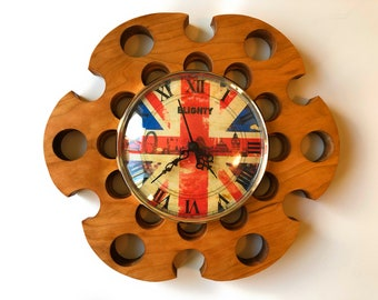"Blighty Wall Clock Cherry Wood 10"" Union Jack Face"