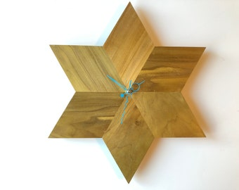 Solid Poplar Star Wall Clock