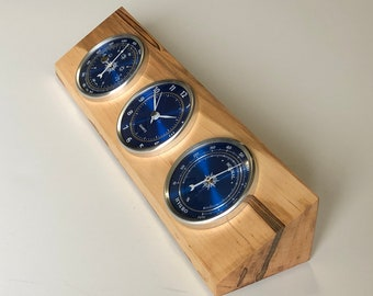 Weather Station - Barometer - Clock - Hygrometer - Spalted Maple Wood - Blue