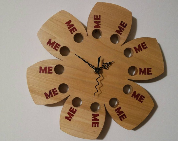 """Featured listing image: Me Time Wall Clock Natural Poplar Wood 10"""" Hibiscus Flower Functional Art Eclectic Gift"""