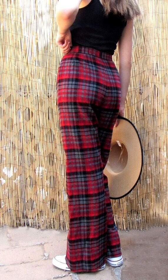 70s Red Plaid Wool Flare Bell Bottom Pants