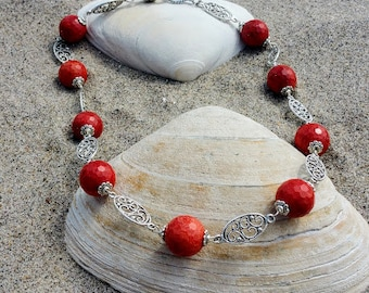 Big Beaded Coral Necklace, Coral Necklace