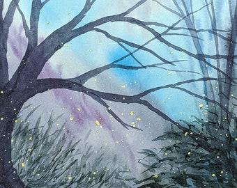 Imagined Woods Series 10 x 8 Teal and Purple Woods Original Watercolor