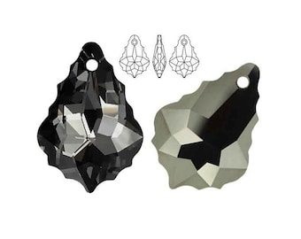 Swarovski 6090 Baroque Crystal Silver Night 16mm crystal 22mm pendant Black crystal Multicolor pendant jewellery components