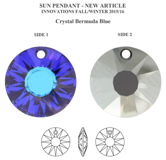 Disc Swarovski Crystal Volcano 12mm Sun 6724 Pendant; Round Circle; Red Blue