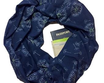 Tiny Dancer   Hidden Pocket Scarf   Infinity Scarf Passport Wallet Holder Travel Scarf Money Belt Navy Blue Travel Gift Secret Pocket Zipper